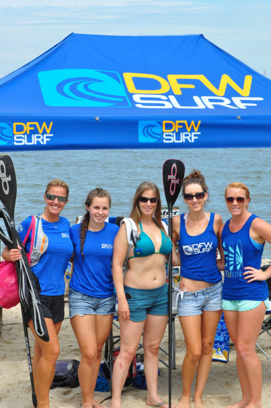 Team DFW Surf Ladies at the Galveston Island G-Bay Paddle Race in 2014