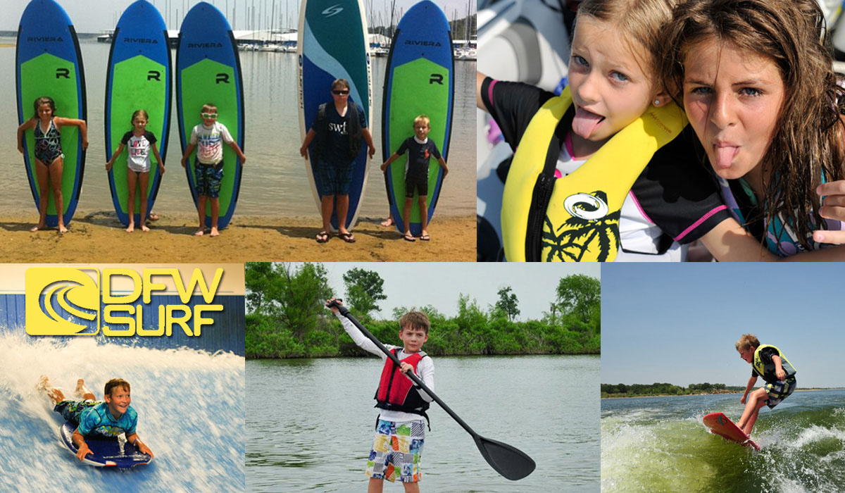 Summer Surf Camp Flyer showing kids having fun at DFW Surf Camp