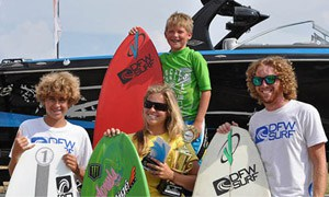 Team DFW Surfers Parker Payne, Perry Morrison, Ashley Kidd and Danny Braught at the Tige Boats US Open of Wake Surfing