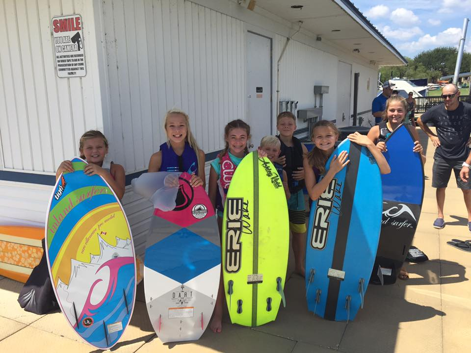 Junior and Grom wakesurfers at the annual Surf the Lake wakesurfing contest