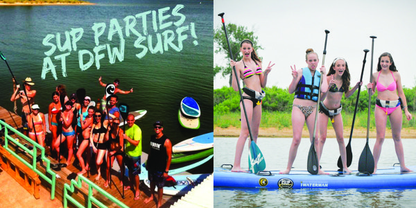 Surf Themed and Paddleboarding Parties at the Lake with DFW Surf