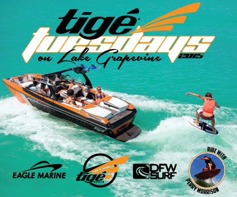 Tige Tuesdays Kids Surf Free on Lake Grapevine