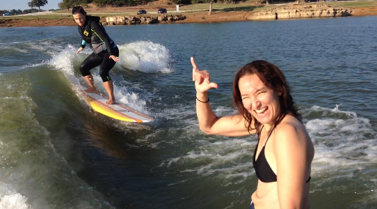 Surf Thursdays wakesurfing on Lake Lewisville