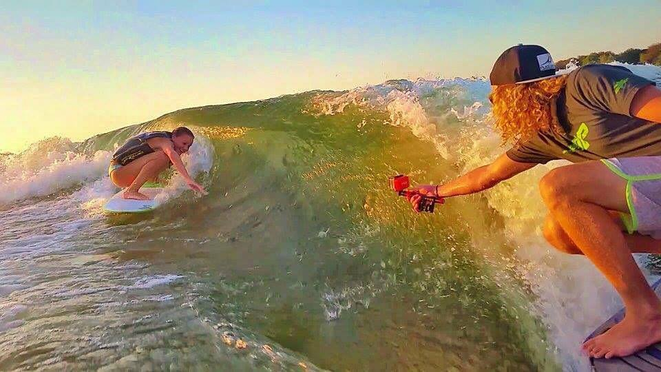 huge barreling wave with Claire Morgan and Danny Braught