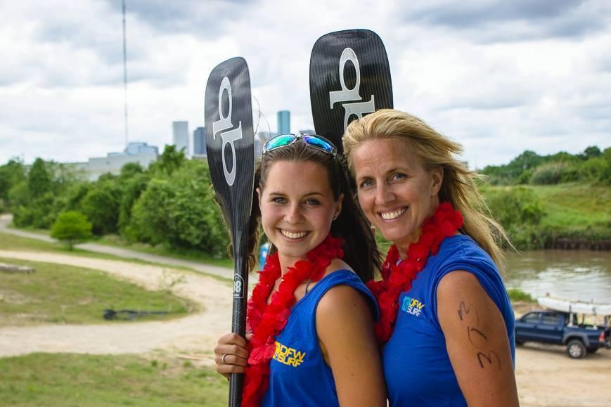 Karis and Konae Nowell at Battle on the Bayou paddleboard race near Houston