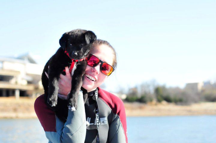 Alyssa Mize co-founder of Hype Surf Co with her dog Bear