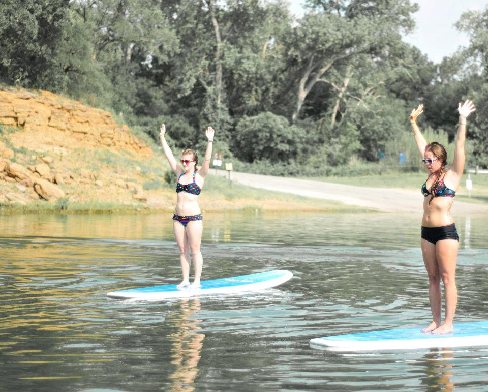 Nato Tailford at the very beginning, sup yoga roots aka Float on Yoga on Grapevine Lake
