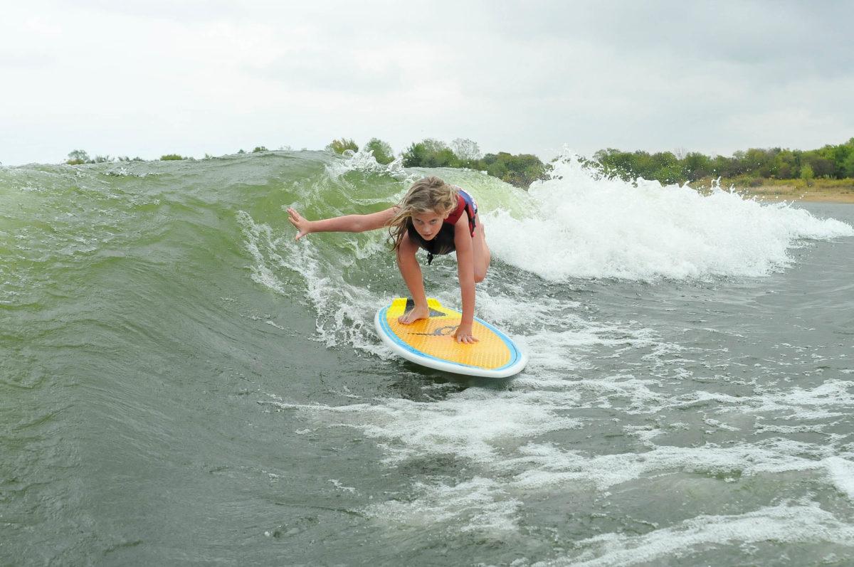wakesurfing at the DFW Surf Open wakesurfing contest in North Texas