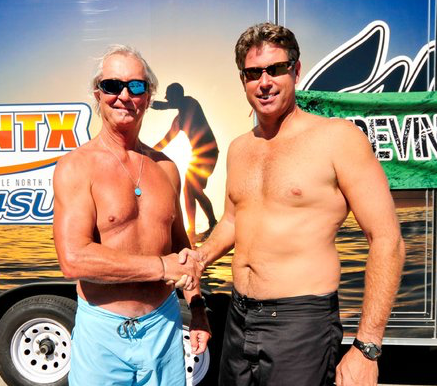Don Anderson and Danny Mitchell at the first annual Grapevine Games paddle race on Grapevine Lake